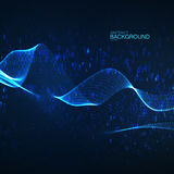 Abstract glowing virtual neon wave with chaotic binary code particles. Royalty Free Stock Image