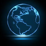 Abstract Glowing World Map Stock Images