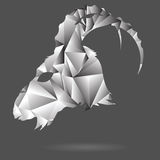 Abstract goat head. Colorful illustration with abstract polygonal silhouette of goat head on a gray background Royalty Free Stock Photo