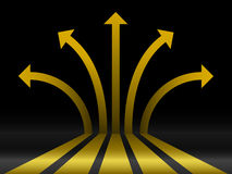 Abstract gold 3d arrows. Abstract gold shiny 3d arrows Royalty Free Stock Images