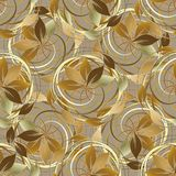Abstract gold autumn 3d seamless pattern. Vector leafy floral ba. Ckground. Wallpaper. Vintage line art tracery intricate swirls, spiral, branches, leaves Stock Photography