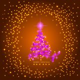 Abstract gold background with christmas tree and stars. Bright illustration in gold and pink colors. Illustration. Abstract background with pink christmas tree Royalty Free Stock Images