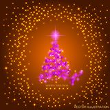 Abstract gold background with pink christmas tree, lights and stars. Vector illustration in gold and pink colors. Abstract background with pink christmas tree royalty free illustration