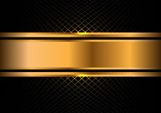 Abstract gold banner on black square mesh design modern luxury background vector. Illustration Royalty Free Stock Images
