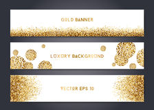 Abstract gold banner templates. Abstract modern vector gold banner templates, shiny luxury background with golden elements Royalty Free Stock Image