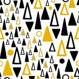 Abstract gold and black triangles seamless pattern. Hand drawn abstract gold and black triangles seamless pattern royalty free illustration