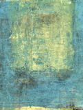 Abstract Gold and Blue. Abstract painting with cyan blue and gold tones Stock Photography