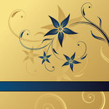 Abstract gold-blue floral background. With space for text Stock Image