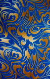 Abstract gold and blue floral seamless texture Royalty Free Stock Image