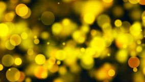 Abstract gold bokeh with black background. 3d rendering Stock Image