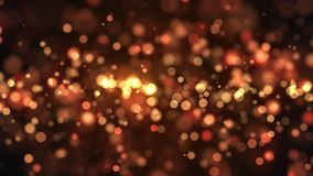 Abstract gold bokeh with black background. 3d rendering Stock Photos