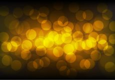 Abstract gold bokeh blue light on black night luxury background vector. Illustration Royalty Free Stock Photography