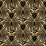 Abstract gold butterflies seamless pattern. Modern vintage gold butterflies seamless pattern. Vector abstract background. Surface 3d texture with golden Stock Image
