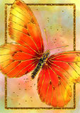 Abstract Gold Butterfly. Abstract metallic gold butterfly, the wings in shades of red orange and yellow. Placed on a soft pastel blended background with a gold Royalty Free Stock Photos