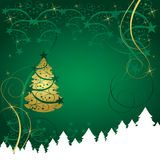 Abstract gold christmas tree card vector illustration