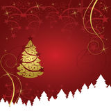 Abstract gold christmas tree card. On red background Royalty Free Stock Image