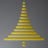 Abstract gold christmas tree consist of rectangles with rounded corners on dark grey gradient background. Embossed Christmas tree Stock Image
