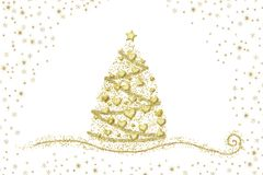 Abstract gold Christmas tree hearts on white. Illustrated Christmas tree, gold hearts, snow and stars on white background stock illustration