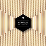 Abstract gold color hexagons lines pattern background with black. Hexagon text box design on white background. Vector illustration stock illustration