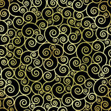 Abstract gold color swirls on black background. Vector seamless pattern Stock Photo