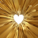 Abstract gold crystal glass background with heart Royalty Free Stock Image