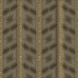 Abstract gold 3d vector greek seamless pattern. Surface geometric textured background. Vertical greek key, meander bborders, stripes. Radial shapes. Modern Royalty Free Stock Images