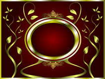Abstract Gold and deep red Floral Background Royalty Free Stock Images