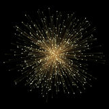 Abstract gold fractral outburst flash background with golden particles Royalty Free Stock Photography