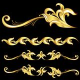 Abstract Gold Frame. Illustration on black background Royalty Free Stock Image