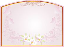 Abstract gold frame with pink floral design Royalty Free Stock Photography