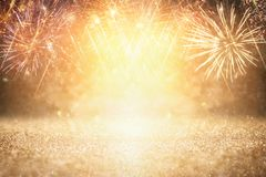 abstract gold glitter background with fireworks. christmas eve, 4th of july holiday concept. royalty free illustration