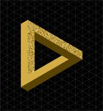 Abstract gold glitter impossible triangle shape Royalty Free Stock Photo