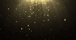 Abstract gold glitter particles background with shining stars falling down and light flare or glare overlay effect above for luxur. Y premium product design or stock illustration