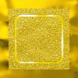 Abstract gold glittery background with golden metallic frame. Festive and celebration design of gold glittery background surrounded by reflective golden metallic Stock Image