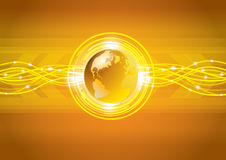 Abstract gold global earth technology Stock Photo