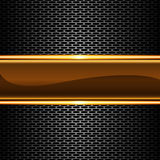 Abstract gold glossy banner on metal honeycomb mesh pattern design luxury background vector Royalty Free Stock Image