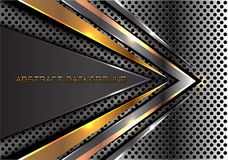 Abstract gold gray arrow speed on metal circle mesh design modern futuristic cretive background texture vector. Stock Photo