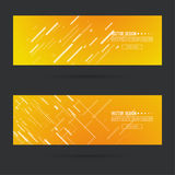 Abstract gold header. Abstract gold header with glowing dynamic diagonal lines. Set  horizontal footer gradient colors from yellow to orange. Contemporary Stock Images