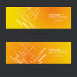 Abstract gold header. Abstract gold header with glowing dynamic diagonal lines. Set  horizontal footer gradient colors from yellow to orange. Contemporary Stock Photography
