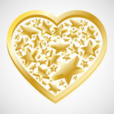 Abstract gold heart with stars for valentine card. Vector illustration Stock Photography