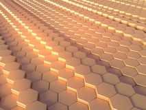 Abstract gold hexagon pattern background 3d rendering Royalty Free Stock Photo