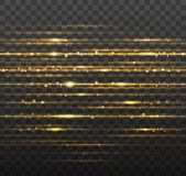 Abstract gold laser beams with shiny sparks isolated on transparent black background. Vector illustration. Eps 10 Royalty Free Stock Photography