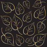 Abstract Gold Leaves. Vintage pattern. Gold Leaves background. Gold leaves on black background. Digital illustration for Art, Print, Web graphic design Stock Image