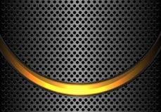 Abstract gold light curve on dark grey metallic circle mesh design modern luxury futuristic background vector. Illustration stock illustration