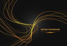 Abstract gold line curve with simple text on black design modern luxury background vector. Illustration stock illustration