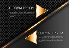 Abstract gold line triangle on gray black circle mesh design modern luxury futuristic creative idea background vector. Stock Images