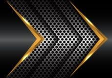 Abstract gold metal arrow on circle mesh design modern vector. Abstract gold metal arrow on circle mesh design modern vector illustration Stock Images