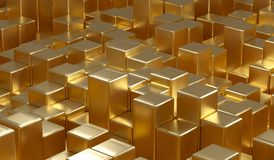 Abstract Gold Metal Cubes. 3D Rendering Of Abstract Gold Metal Cubes Background Stock Images