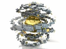 Abstract Gold Metal Structured 3D Sphere vector illustration