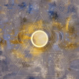 Abstract Gold Moon Art. An abstract digital art with moons and geometric elements Stock Photography